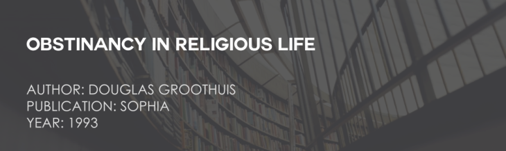 Obstinancy in Religious Life